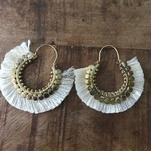 Gorgeous boho hoops with cream silky dainty tassel